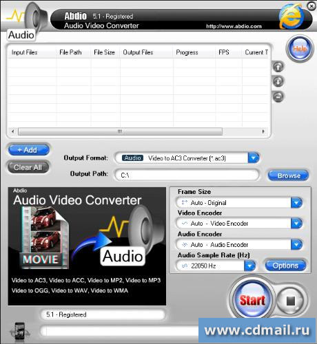 Скриншот Abdio Audio Video Converter