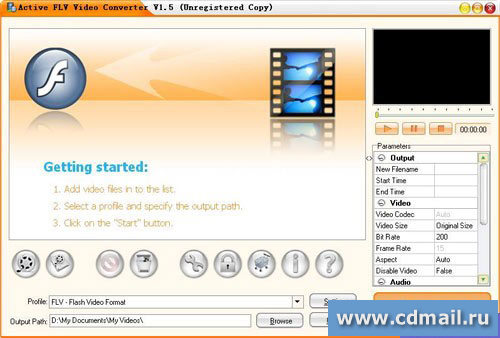 Скриншот Active FLV Video Converter