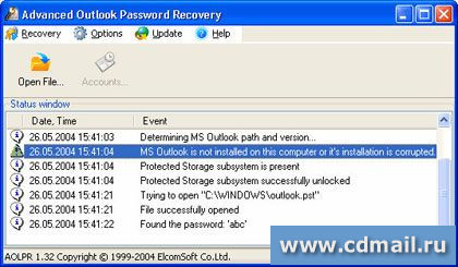 Скрин Advanced Outlook Password Recovery