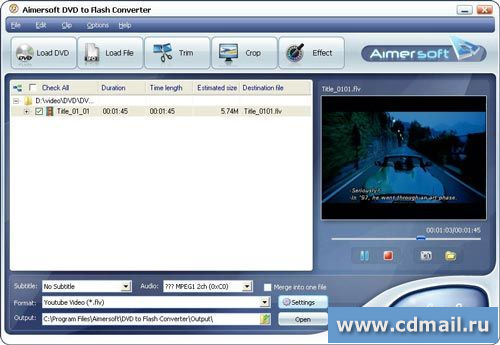 Скриншот Aimersoft DVD to Flash Converter