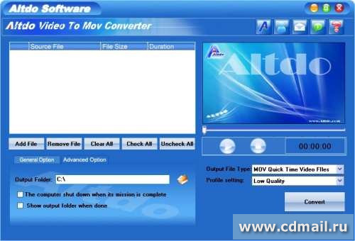 Скрин Altdo Video to MOV Converter