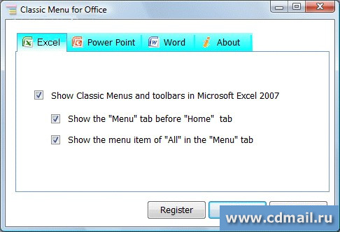 Скриншот Classic Menu for Office 2007