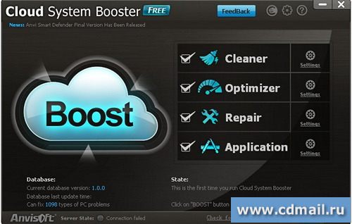 Скриншот Cloud System Booster