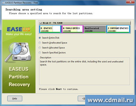 Скрин Easeus Partition Recovery