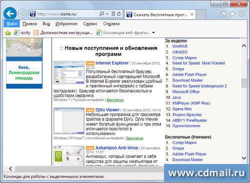Скриншот программы internet explorer