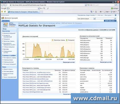 Скриншот MAPILab Statistics for SharePoint