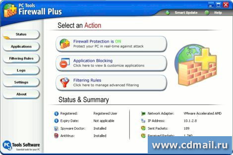 Скрин PC Tools Firewall Plus