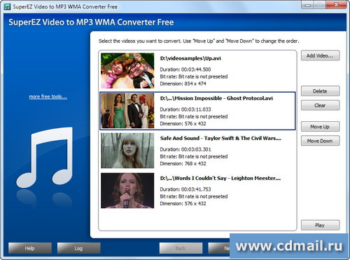 Скрин SuperEZ Video to MP3 WMA Converter Free