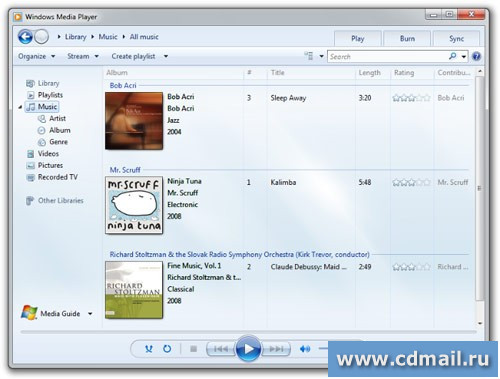 Окно Windows Media Player 12